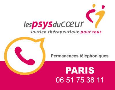 Maintien des permanences des Psys du Coeur de Paris par téléphone !